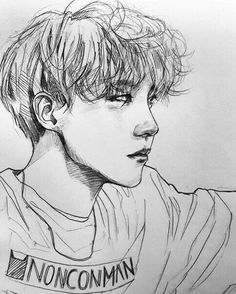Image de bts, jhope, and kpop Kpop Drawings, Pencil Drawings, Wie Zeichnet Man Manga, Fanart Bts, Graphic Artwork, Hoseok Bts, Jhope Bts, Drawing Sketches, Sketch Ink
