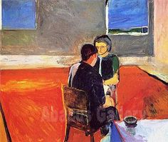 man and woman in a large room painting diebenkorn | Oil on Canvas Reproduction of Man and Woman Seated 1958 by Richard ...