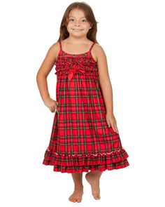 Laura Dare Christmas Morning Plaid Strappy Night Gown