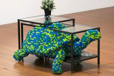 Artists Combine LEGO with IKEA Furniture : Blending both art and functionality together, collaborating artists Claire Healy and Sean Cordeiro Lego Furniture, Furniture Design, Unusual Furniture, Legos, Lego App, Lego Room Decor, Minifigures Lego, Puzzle Table, Lego Sculptures