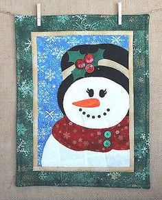 Seasons In Patches Mrs Snowman Wall Hanging