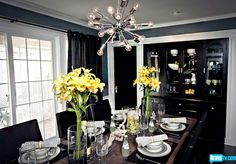 Absolutely gorgeous.  Interior Therapy with Jeff Lewis.  Love the chandelier and the flowers.  He painted the built-ins black, which gave them an instant update.