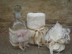 Greek baptismal set - Orthodox baptism set This listing is for -1 decorated bottle for oil -1 decorated soap -1 decorated small towel (to wipe