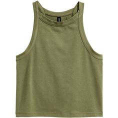 Jersey vest top $12.99 ($13) ❤ liked on Polyvore featuring tops, clothes - tops, cropped tank top, jersey tank top, jersey top, cut-out crop tops and green top