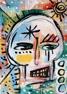 Skull Halloween ACEO miniature painting, outsider art, naive, folk #OutsiderArt