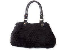 Black Handbag Celebrity Style With Genuine Leather by Sudrishta, $130.00