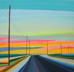 Sunset on Gerard Drive By Grant Haffner-acrylic, marker, pencil, paint-pen on wood panel. Abstract Landscape, Landscape Paintings, Abstract Oil, Abstract Paintings, Art Paintings, Painting Inspiration, Art Inspo, Design Inspiration, Road Painting