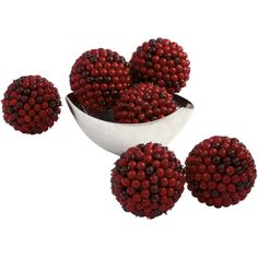 5 Red Berry Ball Set Of 6 (170 BAM) ❤ liked on Polyvore featuring home and home decor