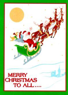 Curtis Swann embossed Christmas card Santa and Sleigh