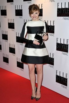 Chloë Moretz's black and white striped Stella McCartney dress