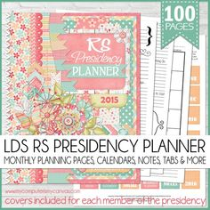 2015 LDS Relief Society Planner - 100 pages of planning awesomeness. Well thought out monthly planning sections + monthly calendars, notes pages, places for recording meeting notes, concerns, callings, to do's + planners for Super Saturday, RS Birthday Social and the Christmas Social. MUST PIN! #mycomputerismycanvas