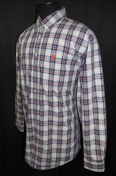 Men's Cinch Western Wear Long Sleeve Shirt_Gray w/Blue/Orange & White Checks_XL