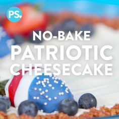 During the heat of Summer who wants to turn on an oven? Thankfully we have a super easy and stunning no-bake cheesecake that's perfect for any Fourth of July bash and it's a g (American Baking Cheesecake) 4th Of July Desserts, Fourth Of July Food, Holiday Desserts, Holiday Treats, Just Desserts, Holiday Recipes, Delicious Desserts, Yummy Food, Holiday Appetizers