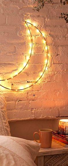 Moon fiary light, boho home decor idea #affiliate #bohemian #bedroom #living #room #decoration #light #lamp #ideas