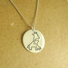 Giraffe Necklace, Mother and Baby Giraffe Necklace, Fine Silver, Sterling Silver Chain, Made To Order on Etsy, $76.52 AUD