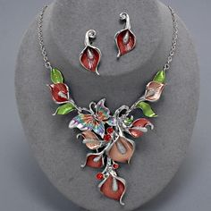 Elegant Coral Red Silver Lily Flower Butterfly Necklace Set Costume Jewelry #uniklook