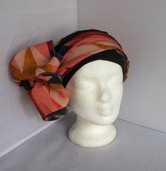 Preformed turban, hair scarf, hat, chemo hat, chemo, coral, Navy,  geometric, Navy Blue headband. Turban ChimioChapeau TurbanFoulardsChapeaux CorailBandeaux ... 47f34bd183c