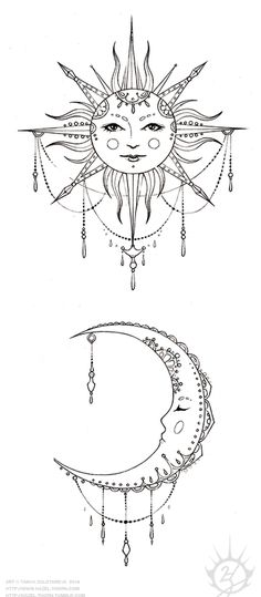 Bohemian Sun and Moon, tattoo design (inked) no faces