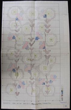 Mönsteridé ''Sälg och hassel''. Mönster till en matta i rya. Framtaget av Älvsborgs läns norra slöjdförening på 1950-talet.