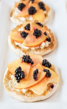 Blackberry, Nectarine & Mascarpone English Muffin: Pretty as a picture and as delicious as can be. Nectarines, blackberries and Mascarpone on a Thomas' Original English Muffin is the simple snack you'll make over and over.