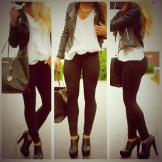 black skinnies, leather jacket, white blouse