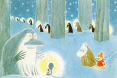 Moomin and Little My meet the Groke. How I still love The Groke - I am so sad for her. Tove Jansson, Moomin Valley, Children's Book Illustration, Beautiful Artwork, Fairy Tales, Character Design, Drawings, Prints, Painting