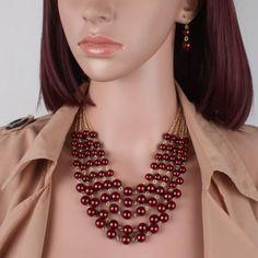305623ebbfe3 Set Collar Y Aretes De Perla Y Cristal Moda Bisuteria Fina -   185.00