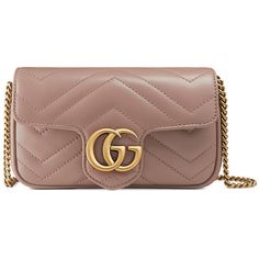 Gucci Gg Marmont Matelassé Leather Super Mini Bag (8685 MAD) ❤ liked on Polyvore featuring bags, handbags, shoulder bags, nude, brown purse, genuine leather handbags, leather shoulder handbags, gucci handbags and key chain rings