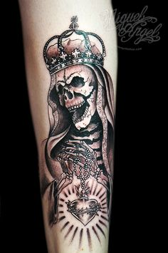 Death Marie/queen custom tattoo by Miguel Angel tattoo, via Flickr