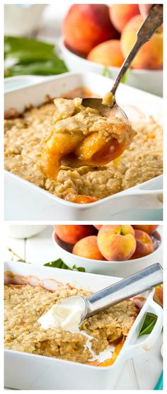 Oatmeal Cookie Peach Cobbler - a fabulous twist on traditional southern peach cobbler with a topping that tastes like an oatmeal cookie.
