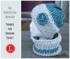 Loom Knit Seed Stitch Brim Hat Pattern and video