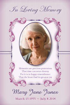 Lavender Memory - Memorial Digital Printable Card Templates and Funeral Digital…