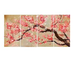 Set de 4 pinturas sobre lienzo Rama Flor - rosa
