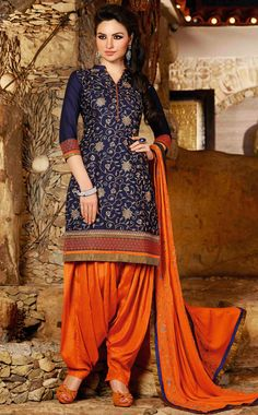 USD 31.68 Navy Blue Cotton Embroidery Punjabi Suit 44845