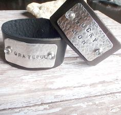 LEATHER CUFF Bracelet with Stamped metal and crystal rivets