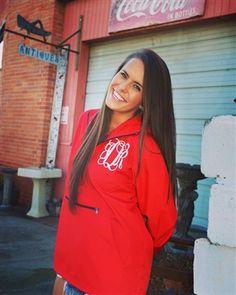 Monogrammed red pack n go jacket