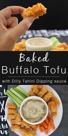 Spicy Baked Buffalo Tofu Bites are perfect dipped into rich-and-creamy Dilly Tahini Dipping Sauce. #sponsored