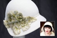 The costume designer sourced the original flowers on this hat from a flea market in Buenos Aires, Argentina and then beaded the spine of them to bring the flowers to life. #MissFisher #PhryneFisher #EssieDavis #hat #hats #acessories #fashion #style #costume #1920s