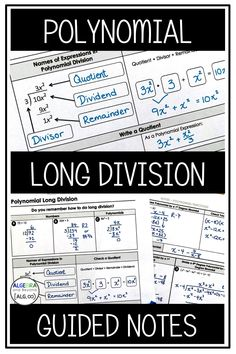 Students learn step-by-step how to divide polynomials using long division. This lesson includes a warm-up, guided notes, and homework. Take a difficult concept and make it an easy one with this lesson! Math Fractions, Dividing Fractions, Equivalent Fractions, Multiplication, Teaching Plan, Teaching Math, Math Teacher, Math Class, Framed Words
