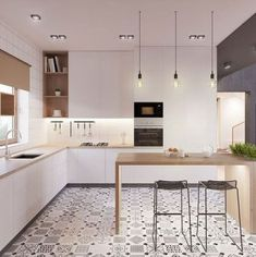 Scandinavian kitchen decor belongs to the most perfect decorations for a modern kitchen. We have a collection of Scandinavia kitchen decor ideas to consider. Classic Kitchen, New Kitchen, Kitchen Yellow, Awesome Kitchen, Kitchen Modern, Modern Kitchens, Cheap Kitchen, Kitchen Living, Living Room