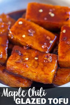 This Maple Chili Glazed Tofu is easy to make, super flavorful and great for a vegan low carb holiday main dish or weeknight dinner! The tofu is packed with protein and coated with a sweet and spicy maple chili glaze. It's also great for an easy weeknight dinner! #tofurecipe #veganmaindish #holidaymaindish #tofu #vegan #glazedtofu Vegetarian Recipes Dinner, Tofu Recipes, Delicious Dinner Recipes, Gluten Free Recipes, Tofu Sandwich, Teriyaki Tofu, Vegan Side Dishes, Holiday Side Dishes, Dinner Salads