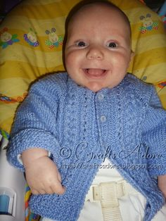 """""""Handsome Cables"""" Knitted Baby Boy Cardigan Free Knitting Pattern When expecting my fifth baby, I decided to knit a """"going home"""" outfit in..."""