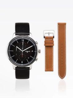 montre homme avec 2 bracelets cuir noir et marron | agnès b. Bracelet Cuir, Daniel Wellington, Bracelets, Watches, Leather, Accessories, Black Leather, Blue, Wristwatches