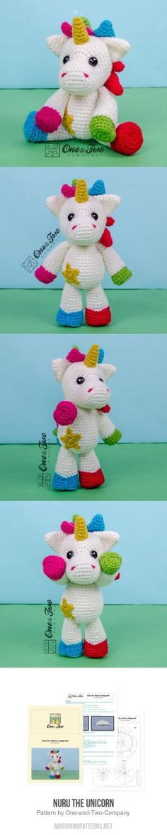 Nuru the Unicorn amigurumi pattern Easter Crochet, Cute Crochet, Crochet For Kids, Crochet Baby, Knit Crochet, Amigurumi Doll, Amigurumi Patterns, Crochet Patterns, Knitting Patterns