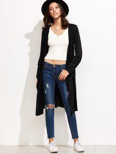 Cárdigan largo con capucha y cintura elástica-Sheinside