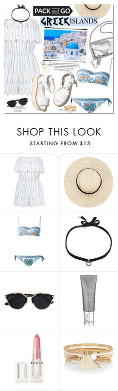 """Pack and Go: Greek Islands"" by oshint ❤ liked on Polyvore featuring Miguelina, Loeffler Randall, Paloma Barceló, Dolce&Gabbana, DANNIJO, Christian Dior, Rodin, River Island, Tory Burch and Packandgo"