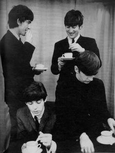 George Harrison, John Lennon, Paul McCartney, and Richard Starkey (The Beatles drinking tea)