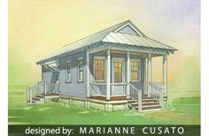 Katrina Cottage House Plan #514-6 for 544 sq ft with 1Bed 1Bath 1Level 0Gar 16'Wide 44'Deep  -- plans $ 850