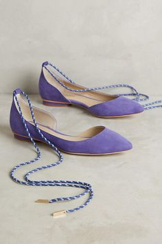 Slide View: 1: Guilhermina Suede Ankle-Tie Flats