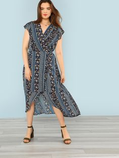 81b471a0bf Plus Floral Print Wrap Maxi Dress -SHEIN(SHEINSIDE) Maxi Wrap Dress, Dress